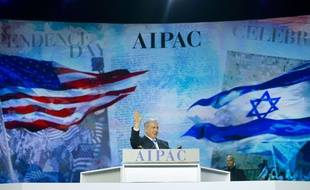 Israeli Prime Minister Benjamin Netanyahu waves to members of the audience before speaking at the American Israel Public Affairs Committee (AIPAC) Policy Conference in Washington, Monday, March 2, 2015. (AP Photo/Pablo Martinez Monsivais)/DCPM112/546850447401/1503021653