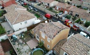 Des toitures ont été endommagées, à Sauvian.