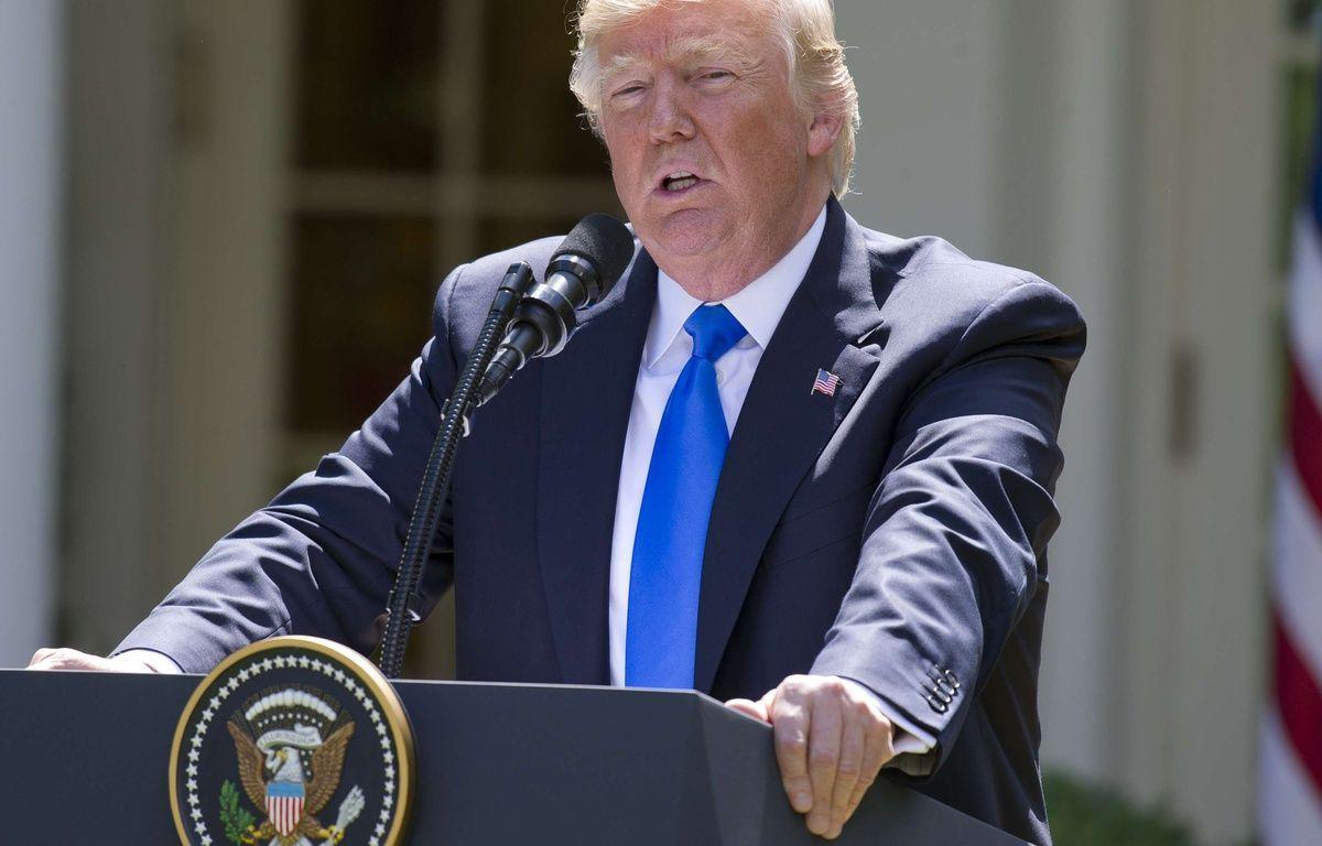 Le président américain Donald Trump a rassuré ses alliés de l'OTAN lors d'une conférence presse dans la Roseraie de la Maison Blanche, le 9 juin 2017.  –  /NEWSCOM/SIPA