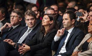 Vincent Peillon, Arnaud Montebourg, Anne Hidalgo et Benoit Hamon , le 05/02/2017. Credit:LEWIS JOLY/SIPA/