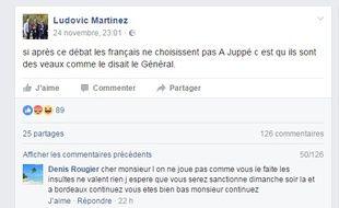 La référence de Ludovic Martinez au Général de Gaulle n'a pas fait l'unanimité sur Facebook.