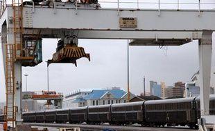 Un train de freight au port de Durban, le 25 mars 2013, en Afrique du Sud