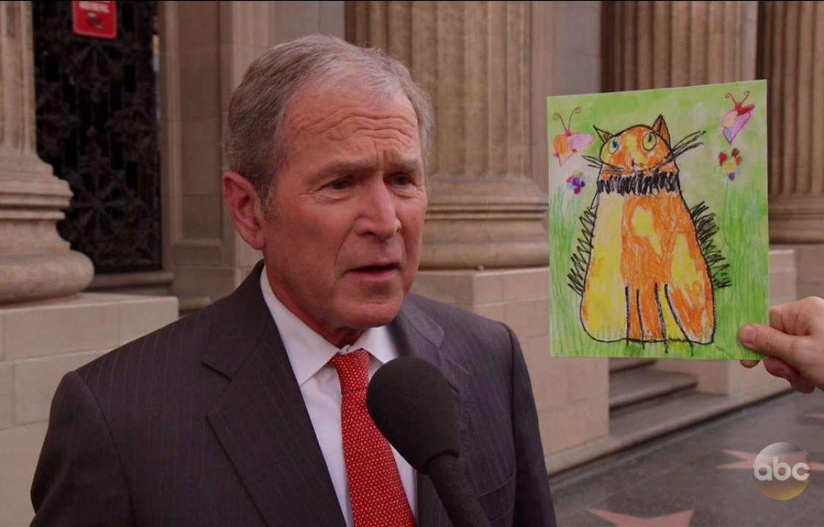 George W. Bush lors de la promotion de son livre de portraits dans l'émission «Jimmy Kimmel Live!» sur la chaîne ABC. – Supplied by WENN.com/SIPA