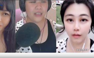 Qiao Biluo, 58 ans (au centre), se faisait passer pour une jeune femme à l'aide de filtres.