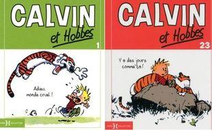 Deux couvertures d'albums «Calvin et Hobbes» parus en France chez Hors-Collection.