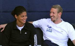 Les nageurs français Coralie Balmy (à gauche) et Alain Bernard, lors du meeting de Strasbourg, le 27 mars 2009.