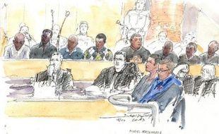 Croquis du procès du meurtre de Mohamed Laidouni devant la cour d'assises des Yvelines, le 8 avril 2013