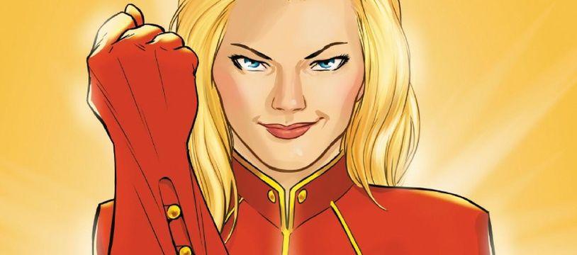 Détail de la couverture du comics «Je suis Captain Marvel».