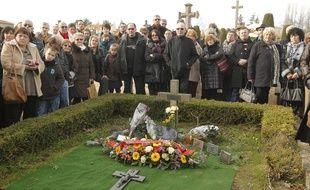 LE CELLIER, le 26/01/2013 Ceremonie devant la tombe de Louis De Funes pour celebrer les 30 ans sa mort.