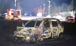 Une voiture détruite après une explosion dans le nord de la Chine qui a fait au moins 22 morts, le 28 novembre 2018.