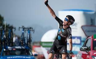Le Français Romain Bardet  remporte la 14e étape de La Vuelta, à Pico Villuercas, le 28 août 2021.