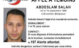 """Photo diffusée le 15 novembre 2015 par la police nationale d'un """"appel à témoin"""" concernant Abdelslam Salah, un suspect dans l'enquête sur les attentats de Paris"""