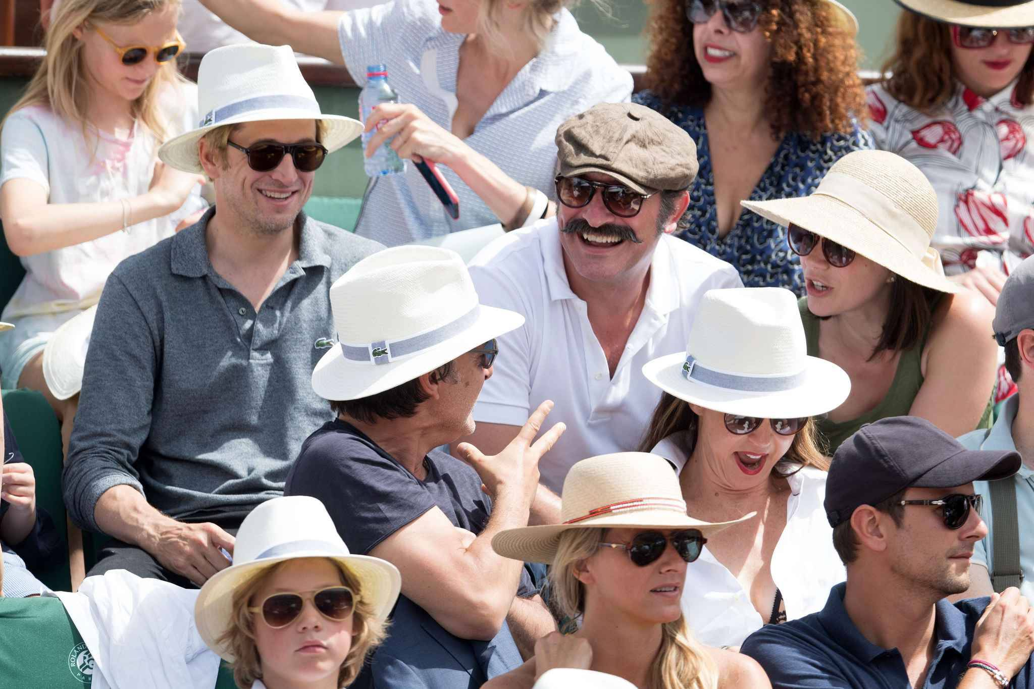 Guillaume Canet, Jean Dujardin, Nathalie Pechalat, Yvan Attal and Elsa Zylberstein attend the Men's Singles Final of the 2017 French Tennis Open  between Rafael Nadal of Spain and Stan Wawrinka of Switzerland at Roland Garros on June 11, 2017 in Paris, FRANCE.
