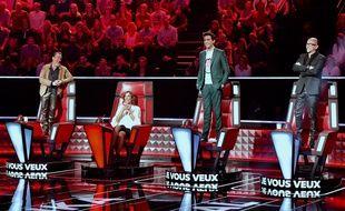Florent Pagny, Zazie, Mika et Pascal Obispo sur le tournage de la saison 7 de «The Voice», le 13 novembre 2017.