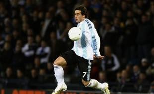 Ezequiel Lavezzi avec l'Argentine face à l'Ecosse, le 19 novembre 2008 à Glasgow.