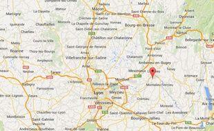 Carte de localisation de La Balme-les-Grottes (Isère)