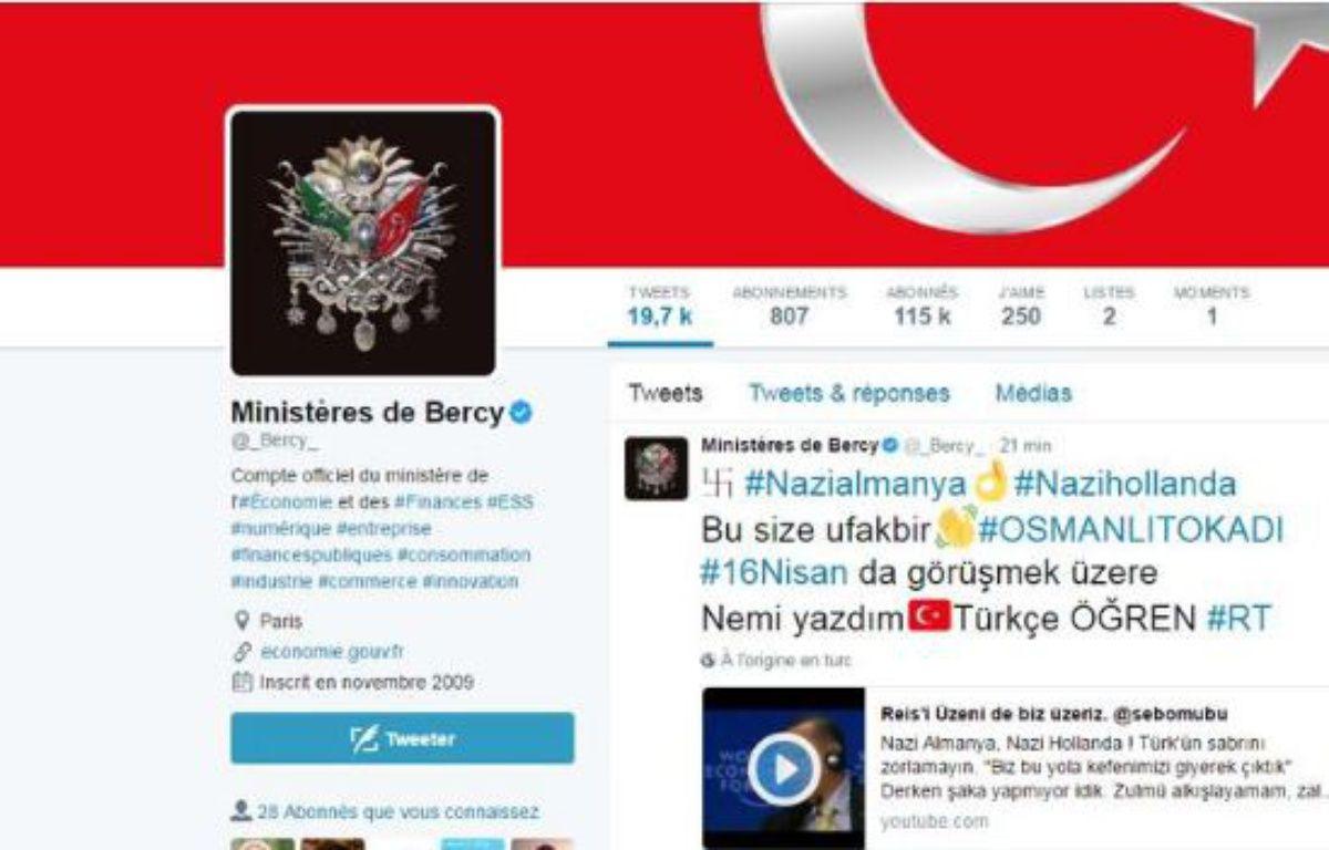 Le compte Twitter de Bercy a été piraté mercredi 15 mars. – Twitter