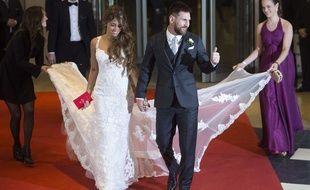 Lionel Messi à son mariage avec Antonella Roccuzzo, le 30 juin 2017 à Rosario.