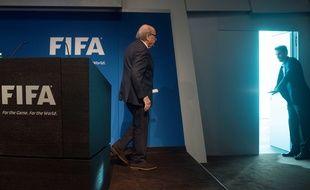 Sepp Blatter, président de la Fifa, alors qu'il vient d'annoncer sa prochaine démission, le 2 juin 2015.