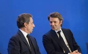 Nicolas Sarkozy, président de Les Républicains, et François Baroin, sénateur-maire LR de Troyes, président de l'Assocation des maires de France, le 1er juin 2016 au siège de LR à Paris.