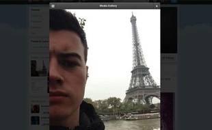 Capture écran d'une twitpic d'un Britannique de 19 ans qui s'est réveillé à Paris, après avoir commencé sa soirée à Manchester.