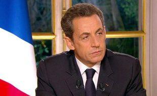 Nicolas Sarkozy lors de son interview télévisée concernant le dernier sommet européen, le 27 octobre 2011.