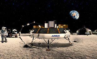 Une vue d'artiste du projet Roxy, qui doit permettre de transformer la poussière lunaire en oxygène.