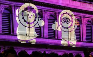 """Illustration de la  fete des lumieres a lyon du 5 au 8 decembre 2014. Place Louis Predel, """"Les Anooki s invitent a l opera"""". Lyon, (Rhone) FRANCE-07/12/2014.  /FAYOLLE_Photo009/Credit:Pascal Fayolle/SIPA/1412081140"""