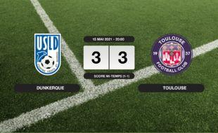Ligue 2, 38ème journée: L'USL Dunkerque et le TFC se quittent sur un nul (3-3)