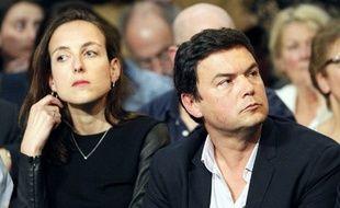 Les économistes Julia Cagé et Thomas Piketty, le 3 février 2016 à Paris.