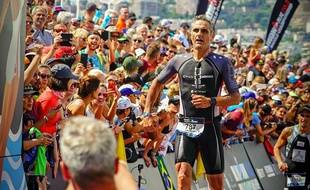 Laurent Jalabert lors de l'édition 2019 de l'Ironman 70.3 à Nice.