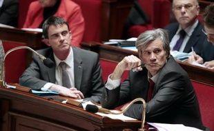 Le ministre de l'Agriculture Stéphane Le Foll et le Premier ministre Manuel Valls à l'Assemblée nationale le 28 janvier 2015