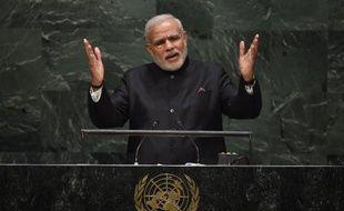 Le Premier ministre indien Narendra Modi s'exprime le 27 septembre 2014 à la tribune de l'ONU à New York