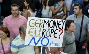 Rassemblement d'opposants au plan des créanciers de la Grèce, le 3 juillet 2015 sur la place Syntagma à Athènes