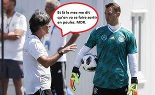 Low et Neuer échangent lors d'un entraînement de l'Allemagne.