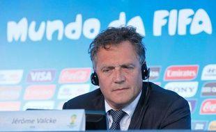 Jérôme Valcke, numéro 2 de la Fifa, lors d'une conférence de presse sur la Coupe du monde 2014, à Rio de Janeiro, le 25 avril 2014.