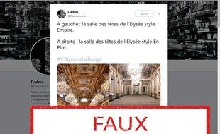 Ces photos ne montrent pas la salle des fêtes de l'Elysée avant et après rénovation.