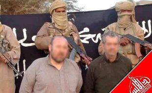 Les otages français Serge Lazarevic et Philippe Verdon sur une photo rendue publique par Al-Andalus, la branche médiatique d'Aqmi, le 9 décembre 2011.