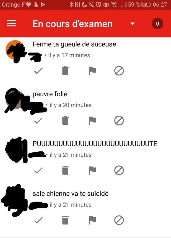 Capture d'écran d'un message reçu sur YouTube par Léa lors de son cyberharcèlement