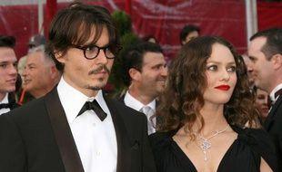 Johnny Depp et Vanessa Paradis lors de la cérémonie des Oscars du 24 février 2008.