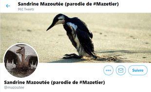 La page d'accueil du compte parodique « Sandrine Mazoutée » de la candidate LREM Sandrine Mazetier.