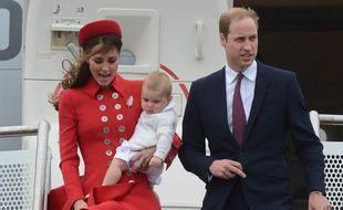 Kate Middleton, le Prince William et leur fils George le 7 avril 2014 à Wellington, Nouvelle-Zélande