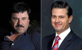 Le narcotrafiquant mexicain Joaquin «El Chapo» Guzman et l'ancien président Enrique Pena Nieto (photomontage).