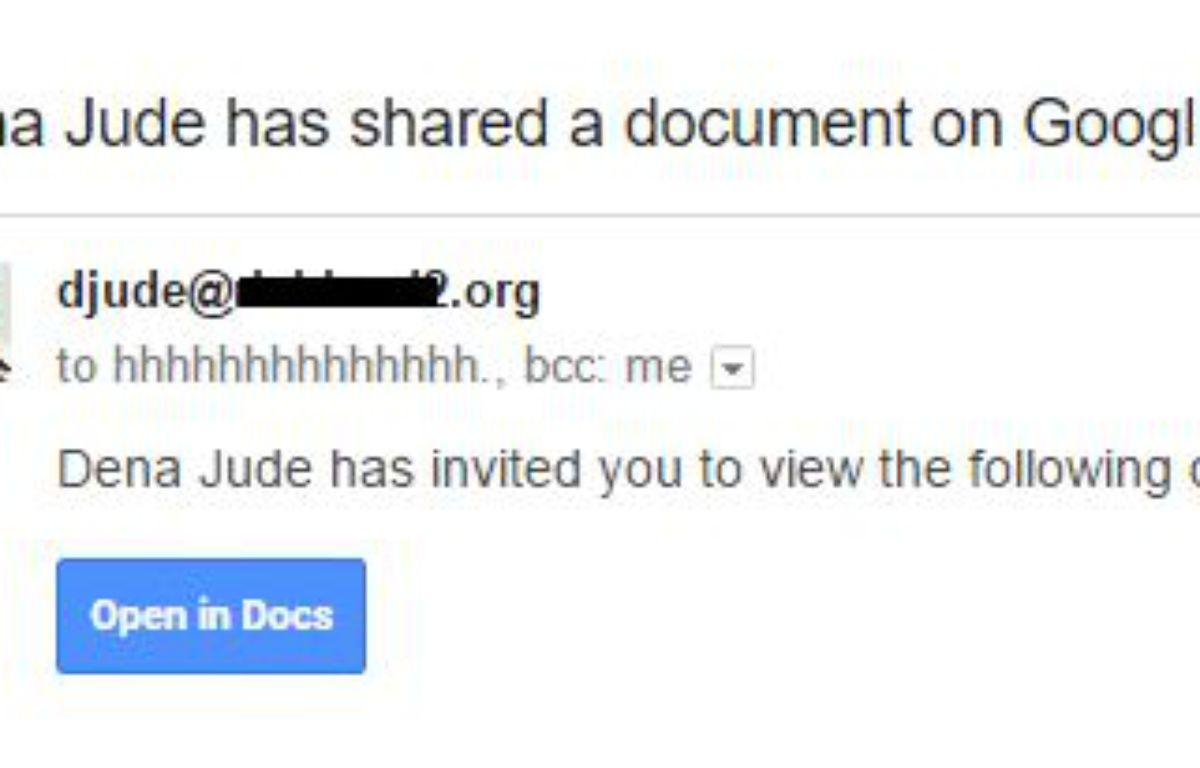 Capture d'écran d'un exemple d'e-mails envoyés  – DR