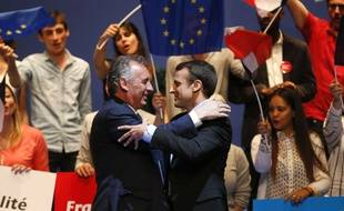 François Bayrou, venu soutenir Emmanuel Macron lors de son meeting à Pau le 12 avril 2017.