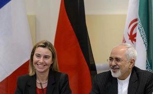 La chef de la diplomatie européenne Federica Mogherini et le ministre des Affaires étrangères iranien Mohammad Javad Zarif à Lausanne, le 31 mars 2015