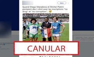 Si Maradona a bien porté un maillot « non à la drogue » en 1988, Platini n'a pas porté de maillot « non à la corruption ».