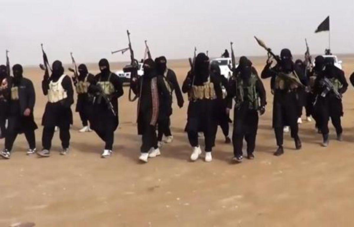 Photo prise à partir d'une vidéo de propagande diffusée par l'Etat islamique en Irak et au Levant (EIIL), le 11 juin 2014, et montrant un groupe de combattants réunis dans la province de Ninive en Irak – - Isil
