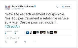 Compte Twitter de l'Assemblée nationale, le 27 janvier 2016.