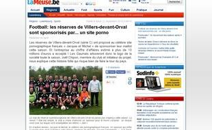 Capture d'écran de l'article du quotidien régional belge «La Meuse», annonçant que le site prono français Jacquie et Michel sponsorise un club de foot de Villers-devant-Orval.